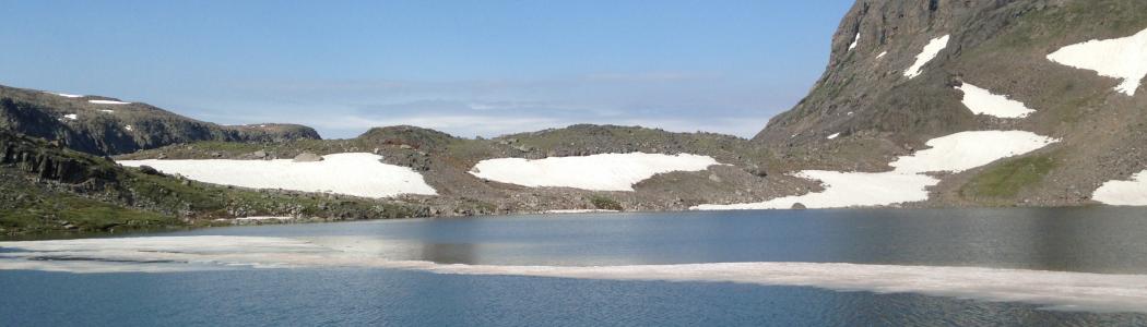Summer ice in an alpine tarn